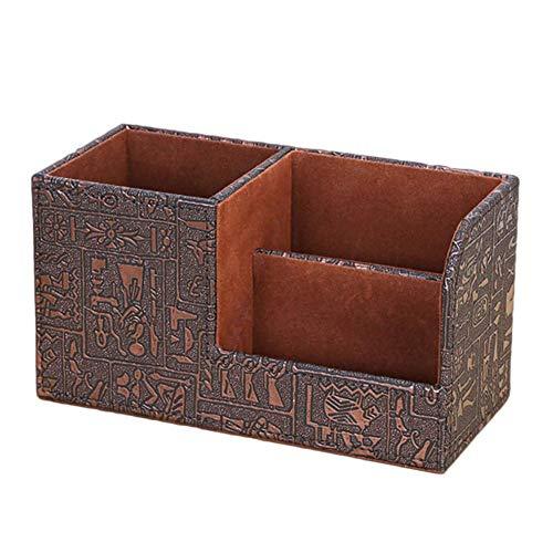 Demarkt Caja de Almacenamiento de Cuero de PU Caja de Almacenamiento Multifuncional Combinación de Portaplumas Papelería de Escritorio y Almacenamiento a Control Remoto (Antiguo Egipto)