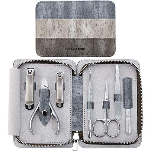 FAMILIFE L14 Manicure Set, 7 in 1 Professional Manicure Pedicure Set Stainless Steel Nail Clipper Set with Noble Portable Travel Case for Women Men