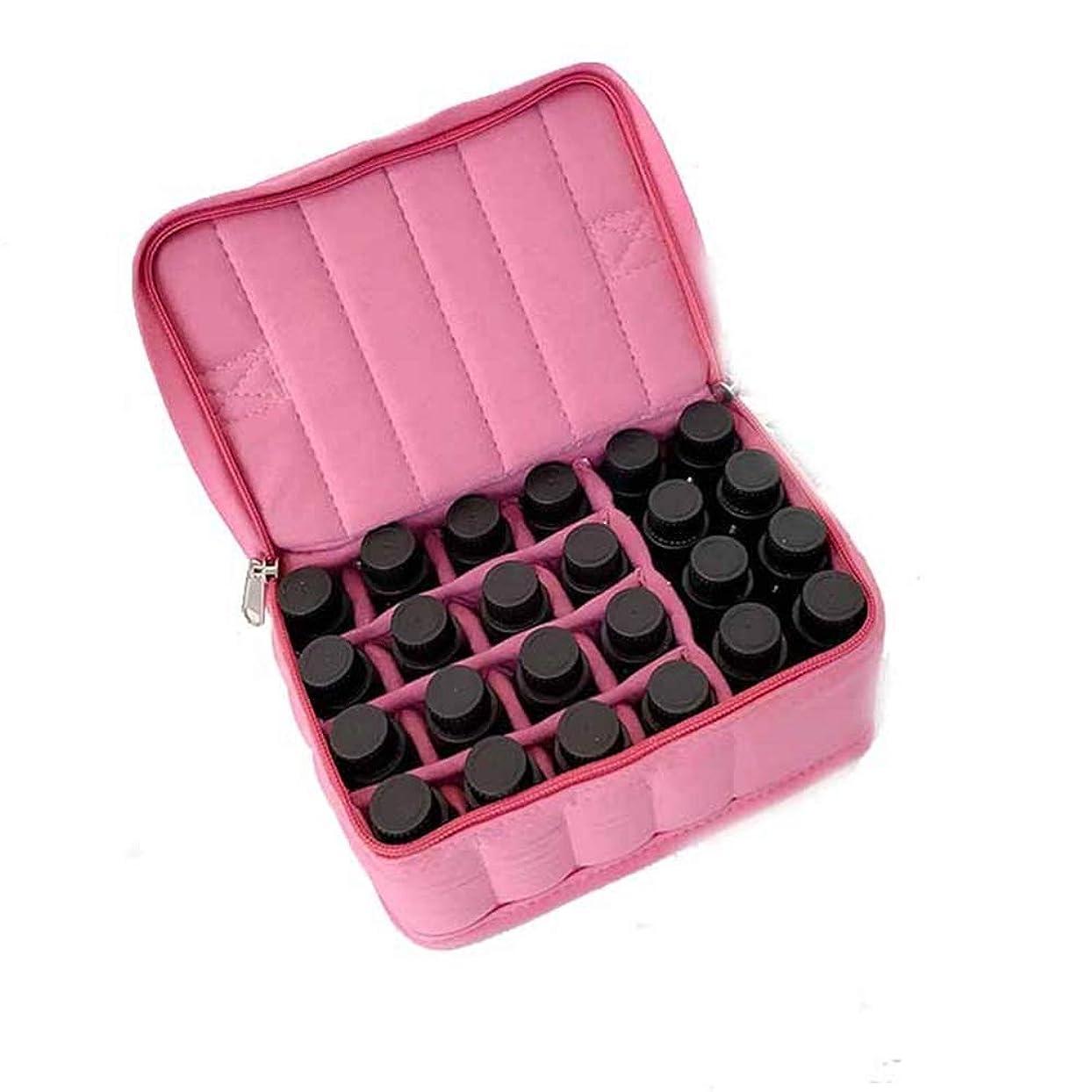充電コーヒープットアロマ旅行や保管のために17-ボトルエッセンシャルオイルキャリングケース アロマセラピー製品 (色 : ピンク, サイズ : 18X13.5X8.5CM)