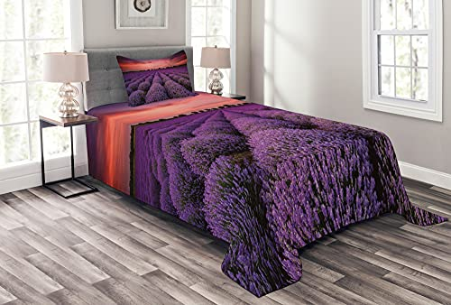 ABAKUHAUS Dunkelviolett Tagesdecke Set, Lavendel-Feld-Sonnenuntergang, Set mit Kissenbezügen Maschienenwaschbar, 170 x 220 cm, Coral & Lila