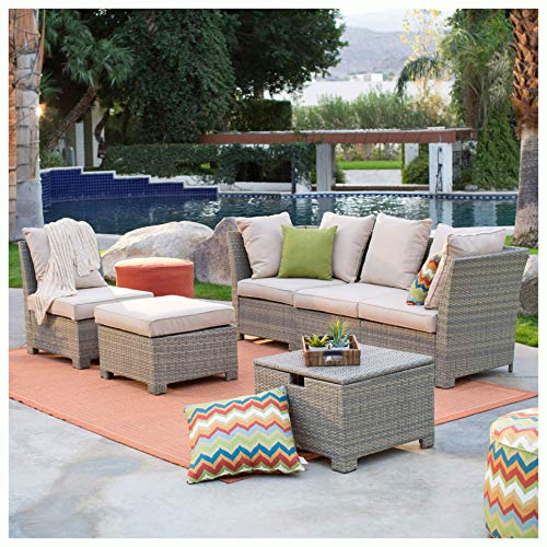 Patio Furniture Set, Natural Outdoor Wicker Resin Patio Furniture Conversation Set