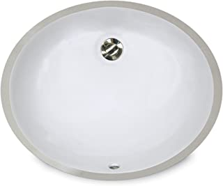 Nantucket Sinks UM-15x12-W 15-Inch by 12-Inch Oval Ceramic Undermount Vanity Sink, White