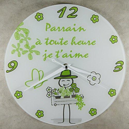 Horloge Je t'aime Parrain – Cadeau pour Parrain : Anniversaire, Noël, Baptême,Communion.