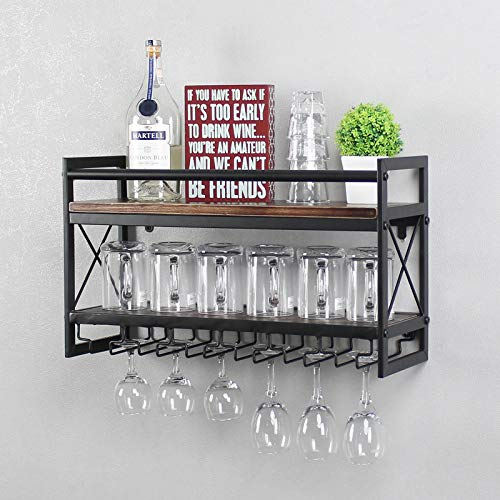 MBQQ Wine Rack Stemware Glass Rack,Industrial 2-Tier Wood Shelf,24in Wall Mounted Wine Racks with 6 Glass Holder for Wine Glasses,Mugs,Home Decor,Retro Black