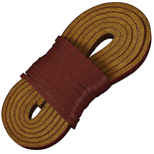 TOFL Leather Boot Laces|1/8 Inch Thick 72 Inches Long|2 Leather Strips [1 Pair]|Burgundy