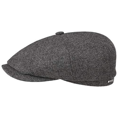Stetson Hatteras Wool Mix Flatcap Schirmmütze Wollcap Schiebermütze Wintercap Herrencap Herren - Made in The EU mit Schirm, Futter, Futter Herbst-Winter - 58 cm grau