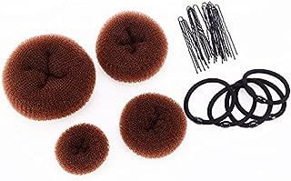 SWACC Hot Hair Donut Bun Maker Set Updo Scrunchie Chignon Hairpiece Ballerina Bun Maker, 4 Sizes + Hair Ties + Bobby Pins in Set (Brown)