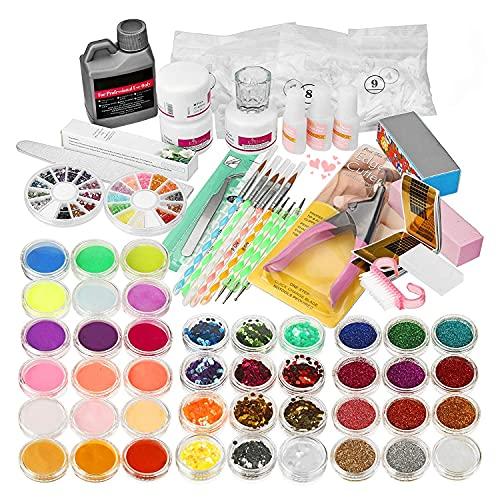 Janolia Maniküre Nail Art Kit, 42 Farben Professionelles acrylpulver für nägel set, Beinhaltet Bürsten, Nagelknipser, Komplettset für Anfänger mit Nagelabdeckung
