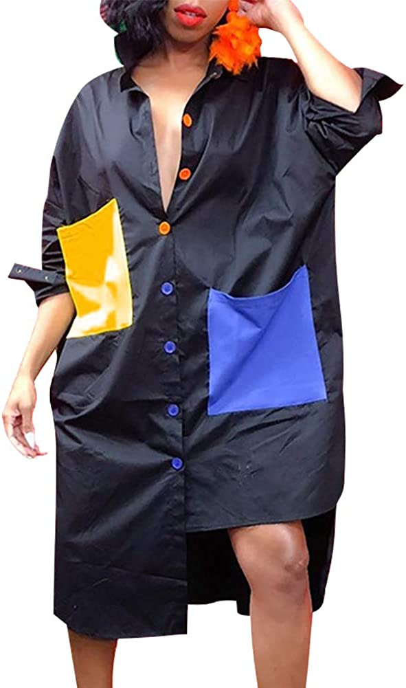 Women's Sexy T-Shirt Dress V Neck Button Down Loose Blouse Tops Casual Dresses with Pocket