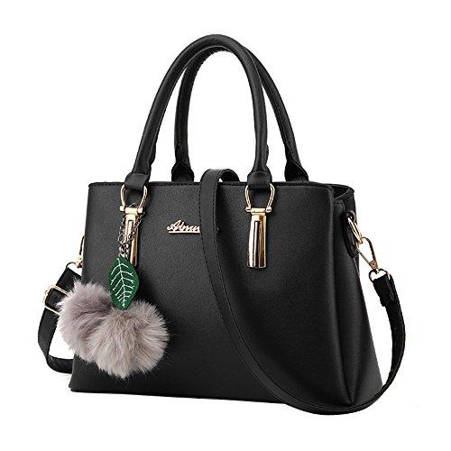 YWLINK Mode Elegant Henkeltaschen Damen Volltonfarbe Klassisch Handtasche Mit Bommel Schultertaschen UmhäNgetasche Shopper
