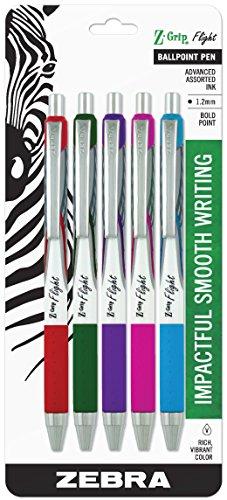Zebra Pen Z-Grip Flight Retractable Ballpoint Pen, Bold Point, 1.2mm, Assorted Fashion Colors, 5-Count
