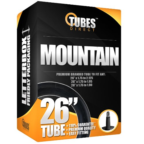 26' Premium Mountain/MTB/Cycle/Bike Inner Tube 26' x 1.75 to 2.125 (Fits any 1.75, 1.85, 1.90, 1.95, 2.0, 2.10) Schrader/Car Type Valve - FREE P&P!!