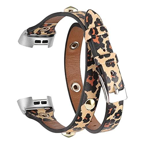 ibasenice Correa de Reloj de Cuero de Leopardo Compatible con Fitbit Charge 3 Pulseras de Reloj de Remache Boho Accesorios de Reparación de Reloj de Pulsera de Repuesto