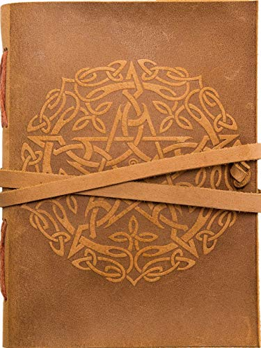 Urban Leather Book Celtic Star Embossed Handmade Vintage Notebook Bullet Journal Daily Diary for Writing Travel Stories, Drawing Sketchbook Scrapbook, for Men Women, Unlined Paper