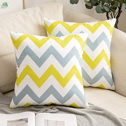 MIULEE Pack of 2 Geometric Suedette Cushion Covers Decorative Square Throw Pillow Case Pillowcases for Couch Livingroom Sofa Bed with Invisible Zipper 45cm x 45cm,18x18 Inches Yellow Grey