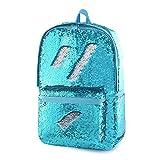 Glitter Kids Backpack for Boys Girls Magic Sequin School Bookbag Sparkly Sequence Book Bag (Crystal Blue)