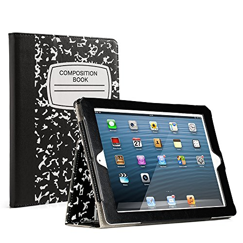 RUBAN Folio Case for iPad 2 3 4 (Old Model) 9.7 inch Tablet - [Corner Protection] Slim Fit Smart Stand Protective Cover Auto Sleep/Wake, Notebook Black