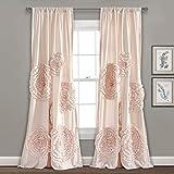 "Lush Decor, Blush Serena Drape | Window Panel for Living, Dining Room, Bedroom (Single Curtain), 84"" x 54 L"
