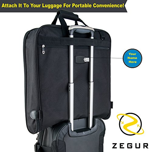 Zegur 3 Suit Suit Bag / Dress Bag for Travel or Business Trips - Black