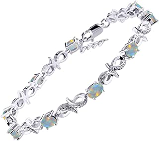"""RYLOS Stunning Infinity Tennis Bracelet with Oval Shape Gemstone & Genuine Sparkling Diamonds in Sterling Silver .925-9 Gorgeous 6X4MM Color Stones - Adjustable to Fit 7""""-8"""" Wrist"""