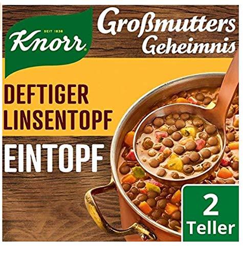 Knorr Großmutters Geheimnis Eintopf Deftiger Linsentopf mit Speck, 133 g, 8 x 2 Portionen