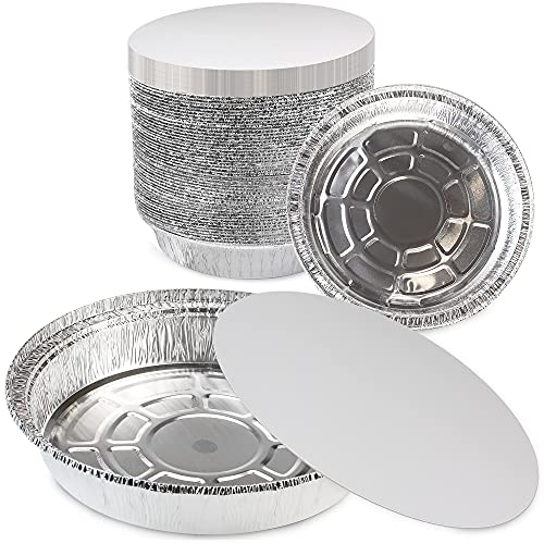 [45 Pack] Round 9 Inch Disposable Aluminum Foil Pan Take Out Food Containers with Flat Board Lids, Steam Table Baking Pans, 46 oz, 2.9 lb, 1.5 Quart