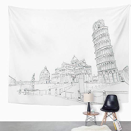 Y·JIANG Tapiz de paisaje urbano de Italia, Baptisterio en la catedral de Pisa inclinada Torre de Pisa, tapiz grande decorativo para el hogar, dormitorio, 203 x 152 cm