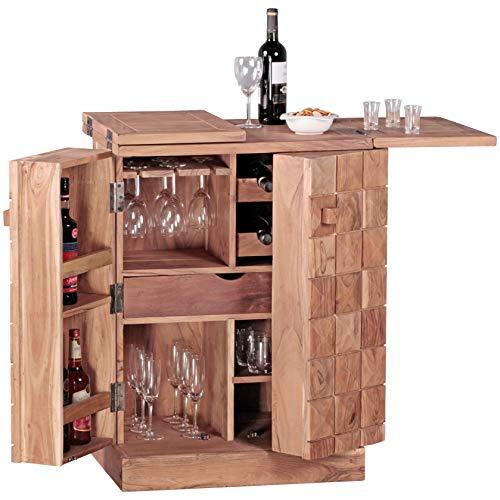 FineBuy Hausbar Massivholz Akazie Weinbar ausklappbar Vitrine Landhausstil Barschrank Aufbewahrung Flaschen und Gläser Weinschrank Natur-Produkt Getränkeschrank freistehend braun Echt-Holz Minibar