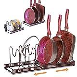 Ryosee Porta pentole e padelle, organizer per padelle con 7 scomparti regolabili per armadi, coperchio pentole, per cucina
