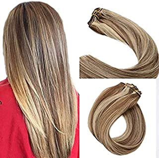 Clip in Hair Extensions Brown with Blonde Highlights Clip on hair Extensions 7pieces 70grams 16