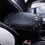 Qimei Car Armrest Cover Center Console Cushion Lid Handrail Box Pad Soft PU Leather + Bling Crown Decoration Cushion (A - Diamond & Crown)