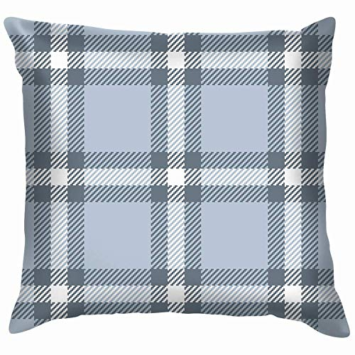 Moily Fayshow Blue Grey Tartan Check Plaid Apparel Beauty Fashion Pillow Case Throw Pillow Cover Square Cushion Cover 16X16 Inch