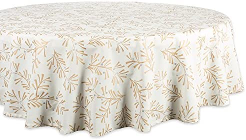 DII CAMZ38081 100 Cotton Machine Washable Printed Metallic Holiday Tablecloth 70 Round Seats product image
