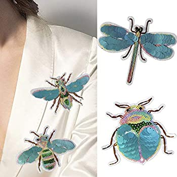 4pc Bees Sequin Embroidery Patch Beetle Embroidered Applique Beaded Patches for Clothing Appliques Parches Sewing