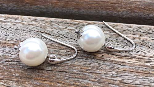 Pendientes de perlas blancas y plata de ley 925, pendientes colgantes, joyas para novias, regalo para el dia de la madre hecho a mano