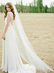 """Cathedral Veil's Purchasing Notice - If you want the veil with rhinestones, pls choose """"White-Rhinestones"""" OR """"Beige-Rhinestones"""" in the drop-down menu.Other veils have not the silver rhinestone embellishment. This elegant and simple bridal veil will..."""