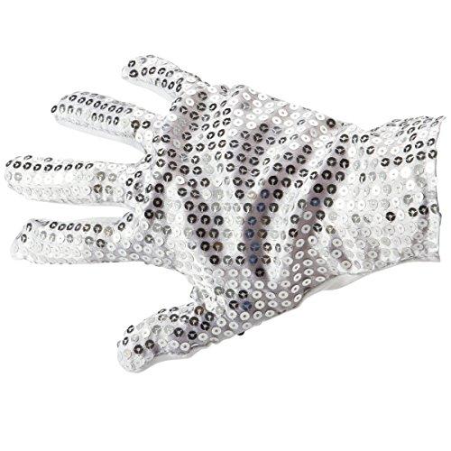 GOODS+GADGETS Popstar Pailletten Handschuhe Michael Jackson Glitzer-Handschuh Silber