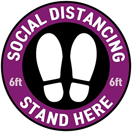 [10 Pack] Heavy Duty Commercial Grade 11' Social Distancing Adhesive Sign Stand Here for Queues Lined Waterproof, Matte, Round Circle Floor Decals for Commercial & School