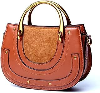 2018 New Ladies Handbag Retro Saddle Bag Cowhide Suede Ring Handbags (Color : Brown, Size : M)