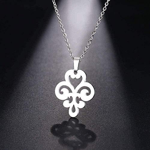 WSBDZYR Co.,ltd Collar de Moda Collar de Acero Inoxidable para Mujer Hombre Amuleto de la Suerte Flor patrón Colgante Collar joyería de Compromiso
