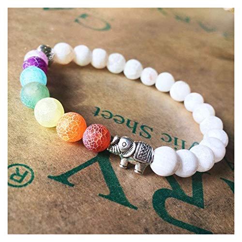 KEKEYANG Stone Bracelet Women,7 Chakra Natural Crack Stone Beads Bangle Elephant Animal Pendant Jewelry Yoga Elastic White Bracelets Charm Diffuser Stone bracelet