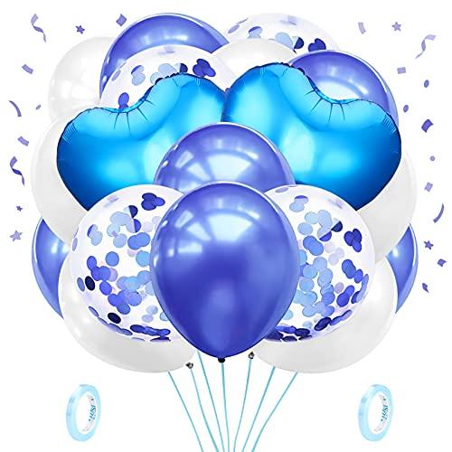 48 pezzi Palloncino Blu Set,Palloncini a Cuore Blu, Blu Palloncini con Coriandoli e Palloncini ad Elio con Nastri,per Matrimoni,Compleanni,Baby Shower,Laurea, Decorazioni Scolastiche,Festa