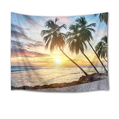 HVEST Tapeçaria de água do mar Palmeira em ilha tropical para pendurar na parede do oceano sob o pôr do sol Tapeçarias para quarto, sala de estar, dormitório, decoração de parede, toalha de mesa de jantar, 203 cm L x 152 cm A