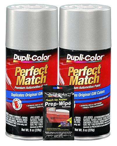 Price comparison product image Dupli-Color Fine Silver Birch Metallic Exact-Match Automotive Paint for GM Vehicles - 8 oz,  Bundles with Prep Wipe (3 Items)