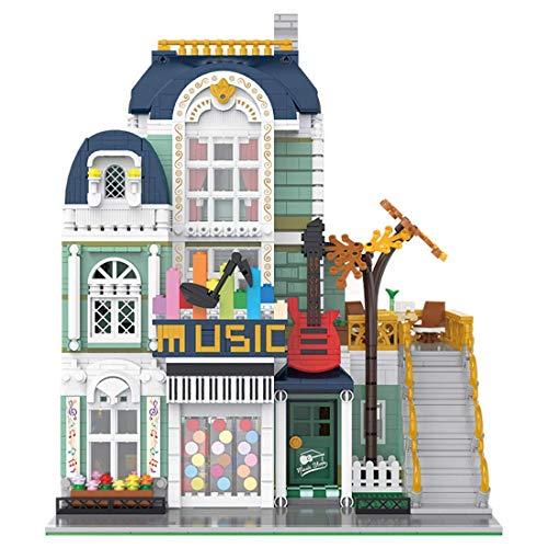 YQRX Modelo de Bloques de construcción de Arquitectura, 3005 + PCS Moc Music Store Modelcity House Street View Townhouse Tienda de Juguetes Juego de Edificios modulares Compatible con Lego