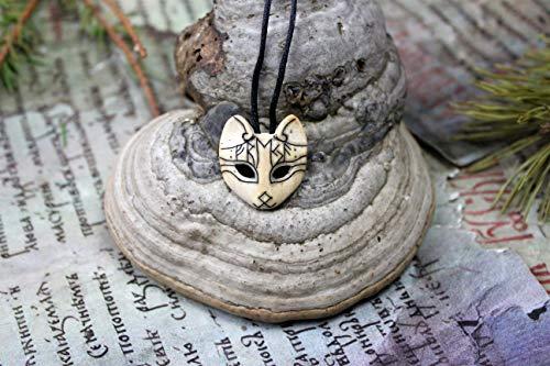 ᚠᚱᛖᛃᚨ+ᛟ Freya-Cat Øld Nørse Gøddess runic amulet,Viking,Icelandic,Asatru,Nordic,Odinism,Paganism Heathen,Celtic,Carved organic bone talisman
