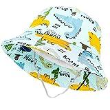 Tacobear Sombrero de Sol Bebé Verano Sombreros Pescador ala Ancha Algodón Gorra con Protección Solar Anti-UV Gorro de Playa para Infantiles Niños Niñas 1-5 Años (Hierba Verde-Dinosaurio)