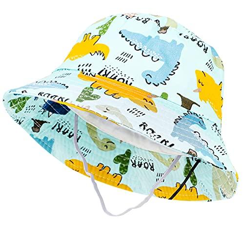 Tacobear Baby Sonnenhut Sommerhut Kinder Baumwolle Eimer Hut mit Breiter Krempe Sommer Sonnenschutz Strandhut Fischerhut für Kleinkinder Mädchen Jungen 1 2 3 4 5 Jahre (Grasgrün-Dinosaurier)