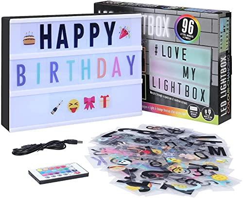 SHYOSUCCE LED Lightbox mit 16 Farbwechsel, 4 Blitzmodi, 262 Buchstaben,85 Emojis, Symbolen Ä Ö Ü ß, Batterie und USB Betrieben, A4 Leuchtkasten für Hochzeiten Geburtstagsfeie Party KTV Bar
