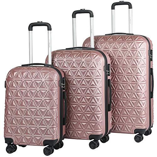 Melko 3tlg. Hartschalen Kofferset Rose Gold Reisekoffer Reisetasche Trolley Handgepäck